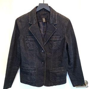 Attention Dark Wash Black Denim Military Jacket